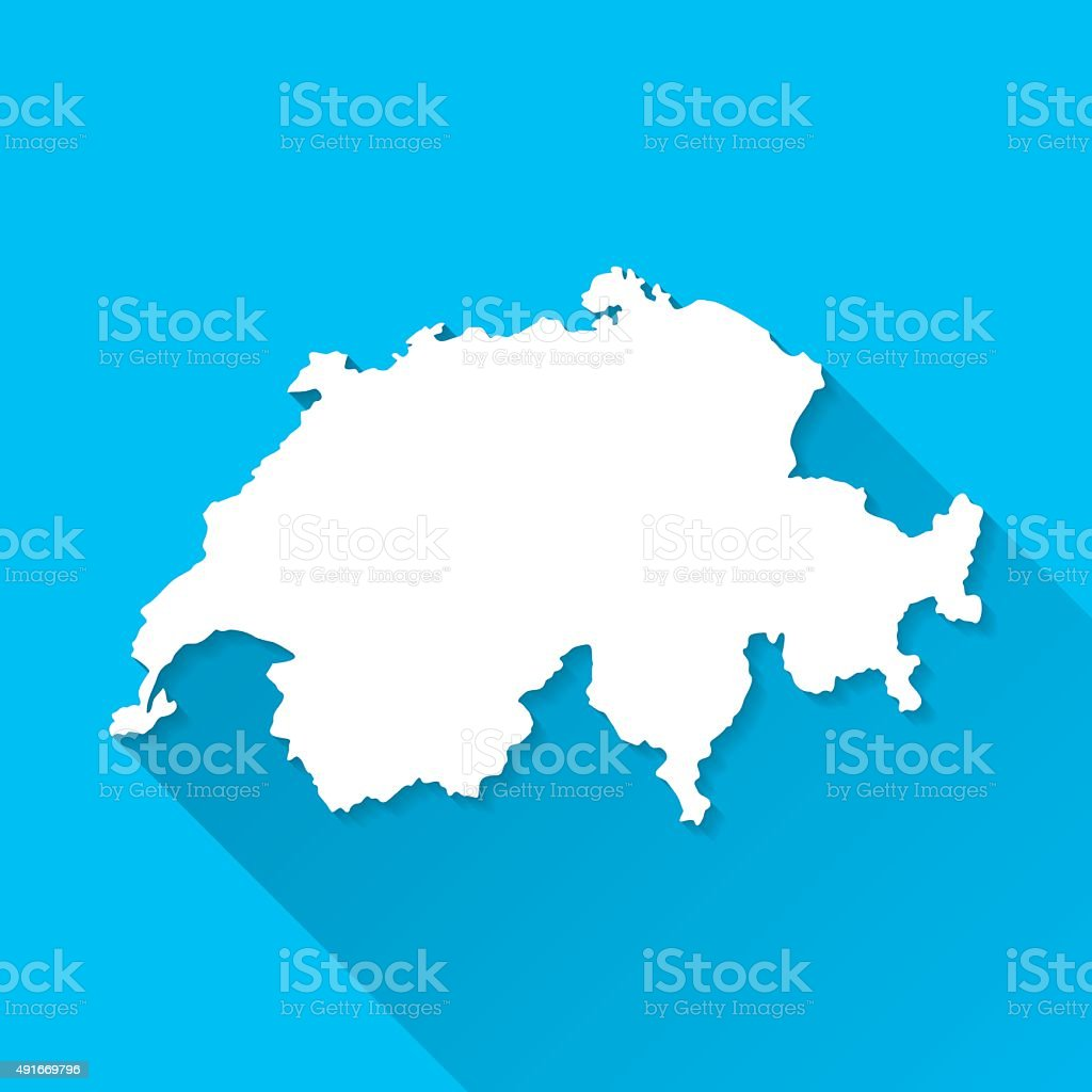 Switzerland Map on Blue Background, Long Shadow, Flat Design vector art illustration