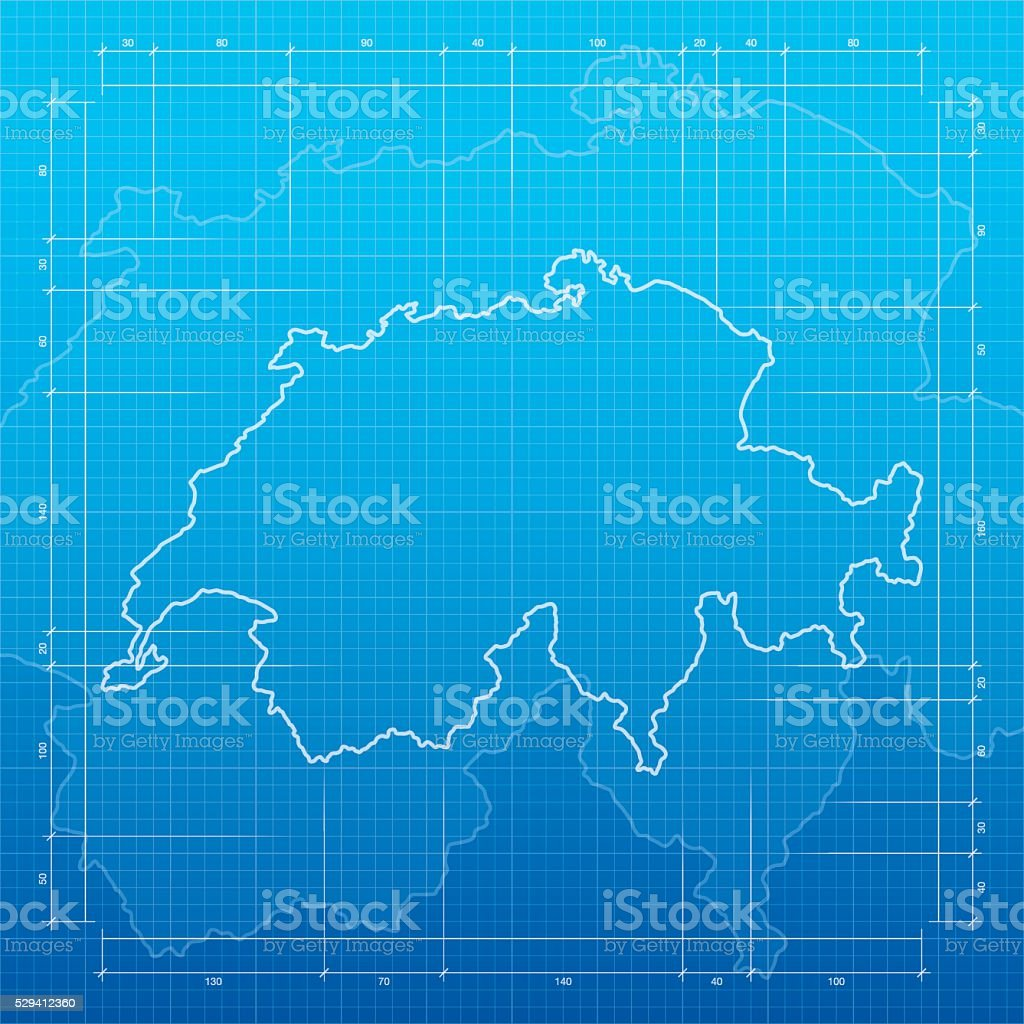 Switzerland map on blueprint background vector art illustration