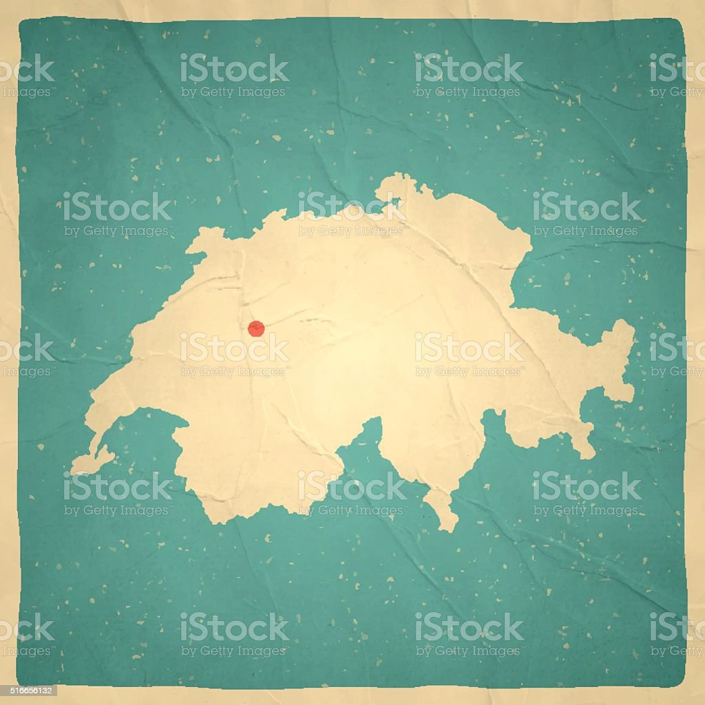 Switzerland Map on old paper - vintage texture vector art illustration