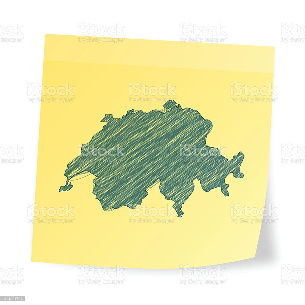 Switzerland map on sticky note with scribble effect vector art illustration
