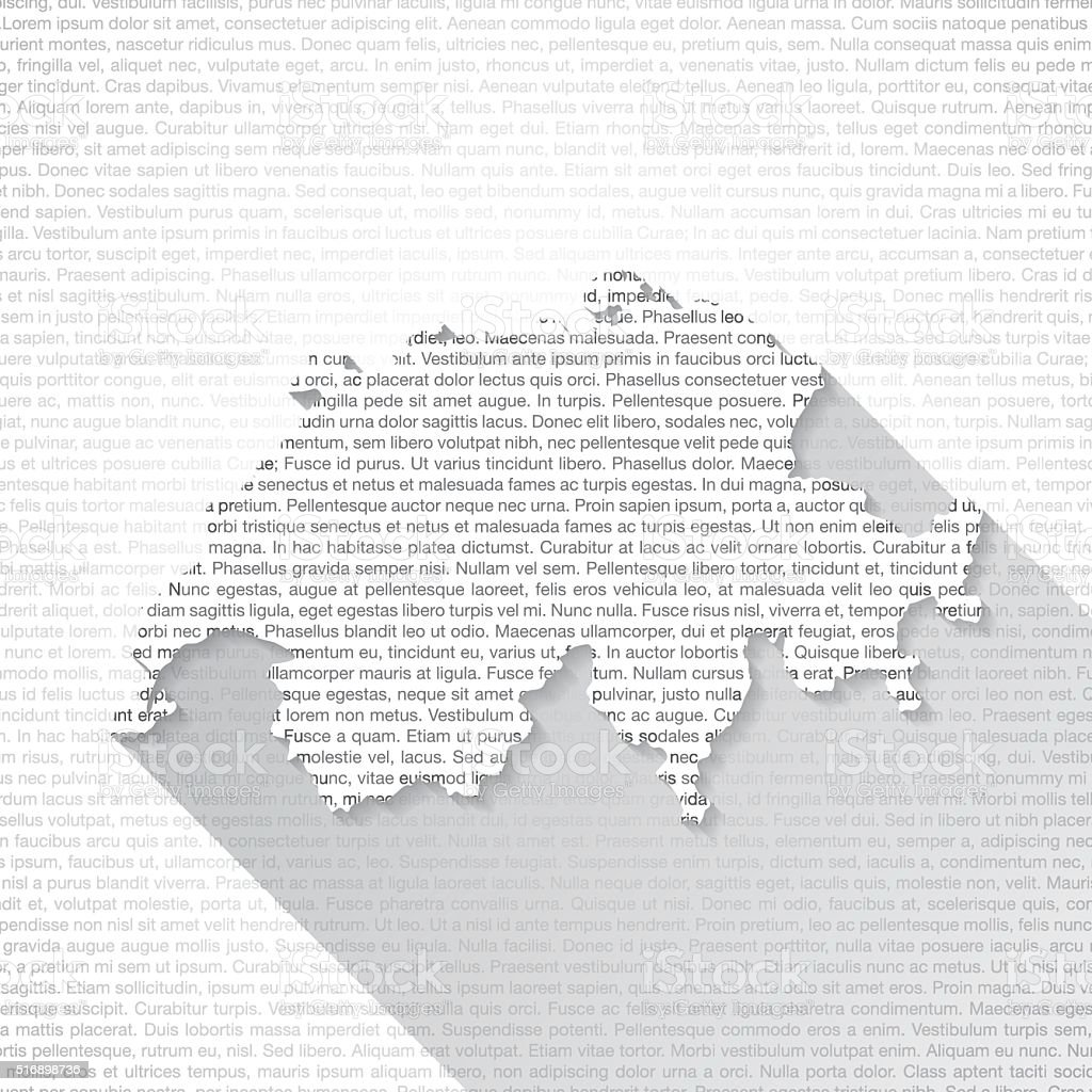 Switzerland Map on Text Background - Long Shadow vector art illustration