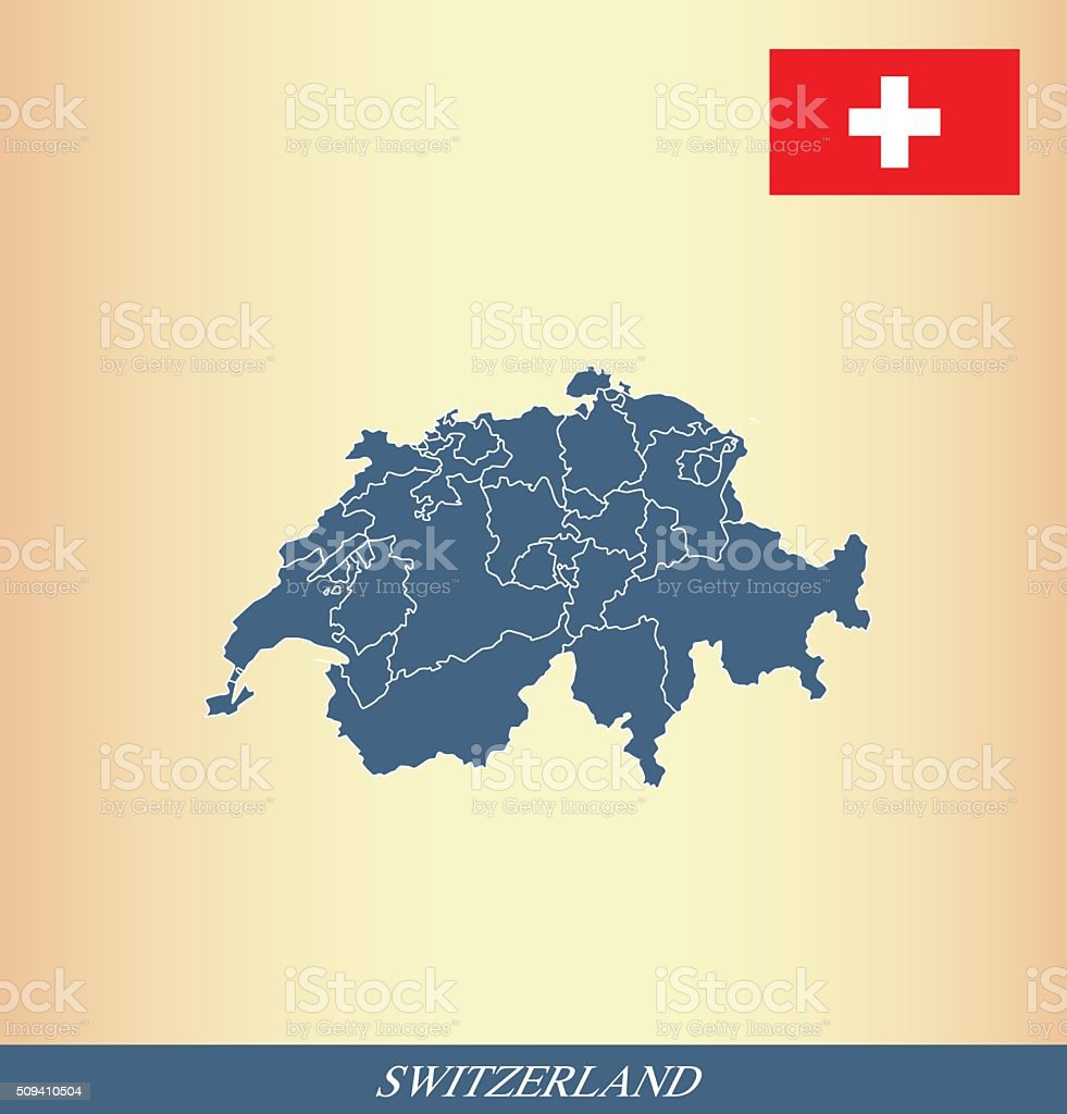 Switzerland map outline vector and Switzerland flag vector outline vector art illustration