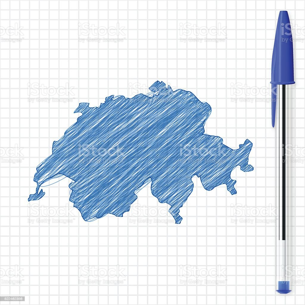 Switzerland map sketch on grid paper, blue pen vector art illustration