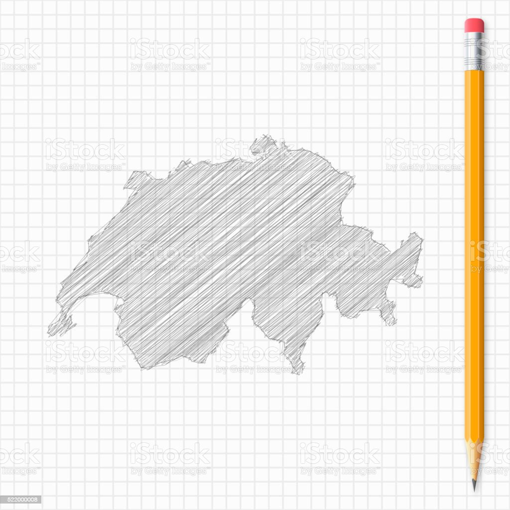 Switzerland map sketch with pencil on grid paper vector art illustration