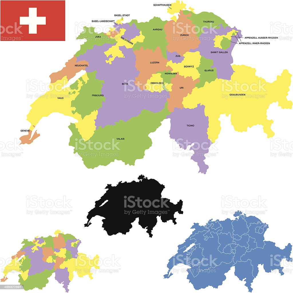 Switzerland map royalty-free stock vector art