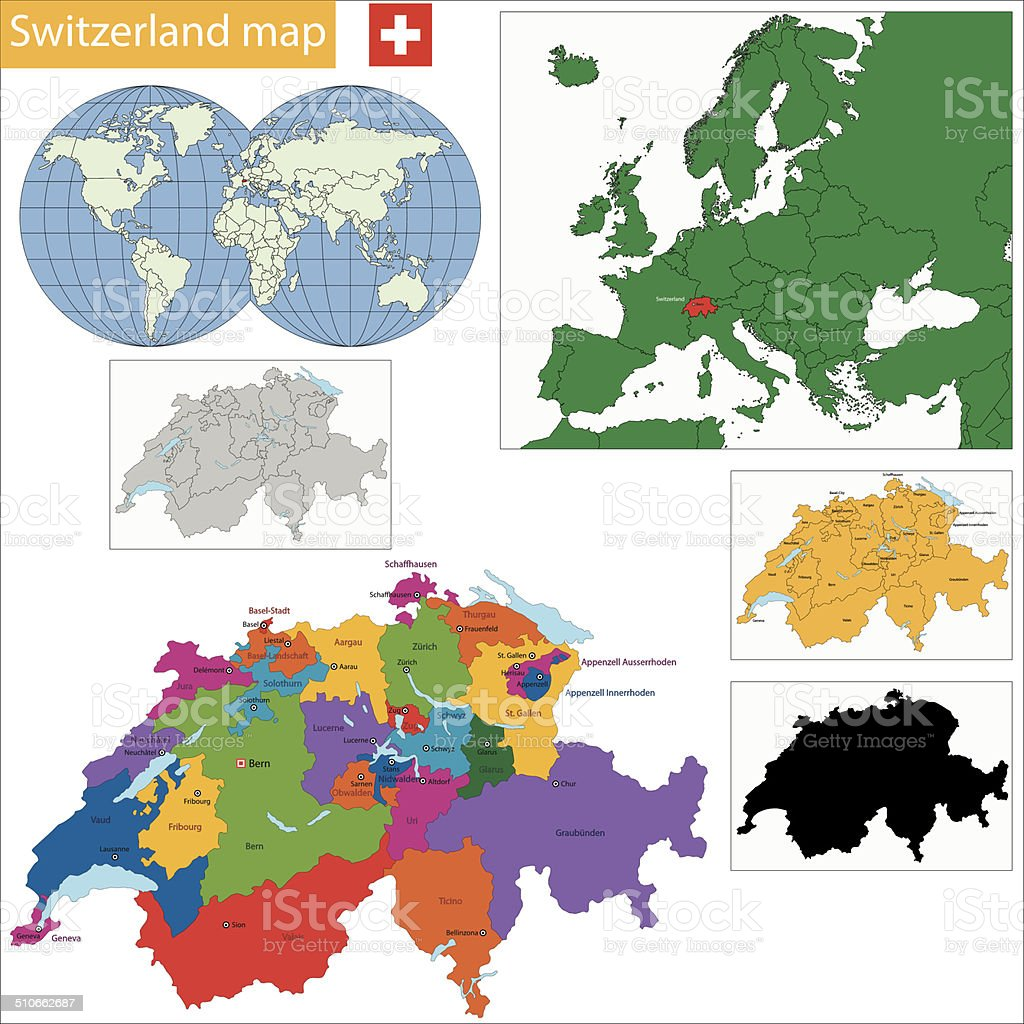 Switzerland map vector art illustration