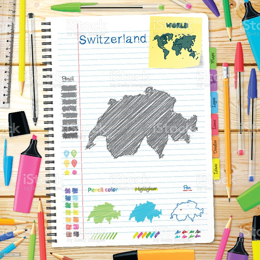 Switzerland maps hand drawn on notebook. Wooden Background vector art illustration