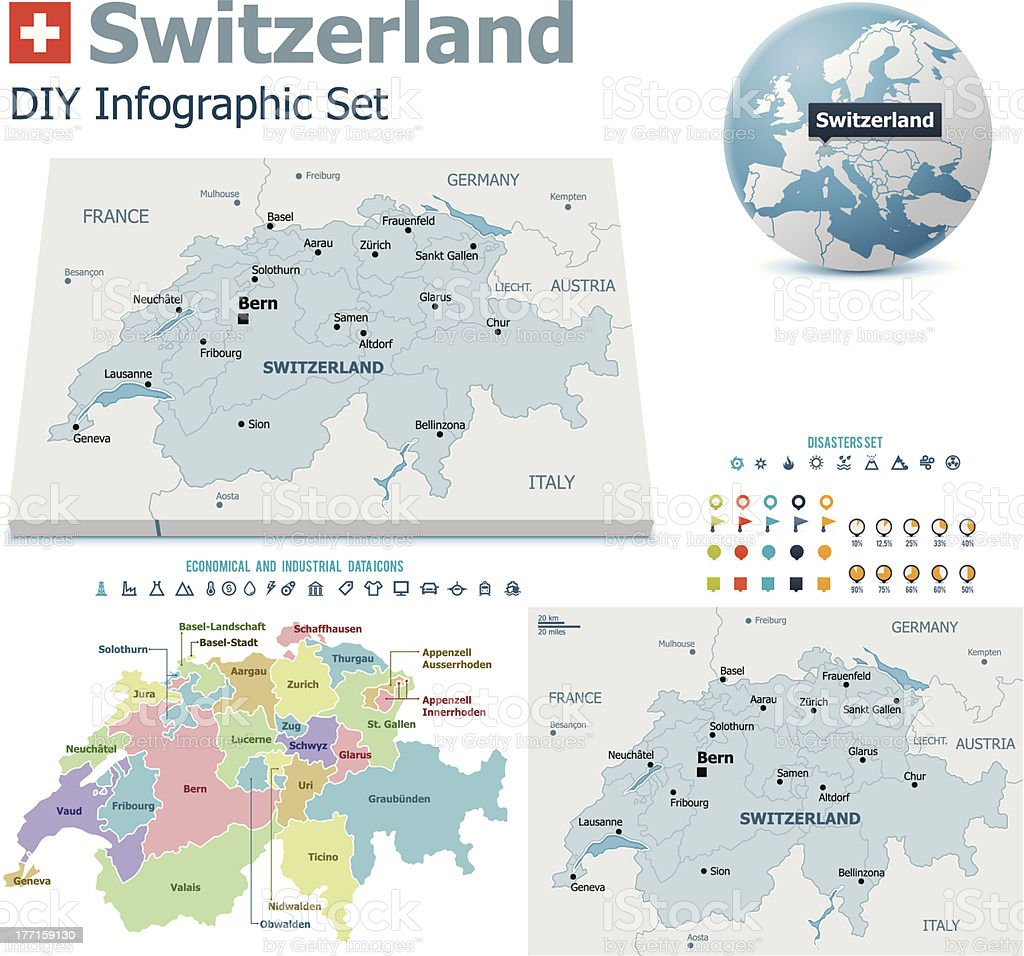 Switzerland maps with markers vector art illustration