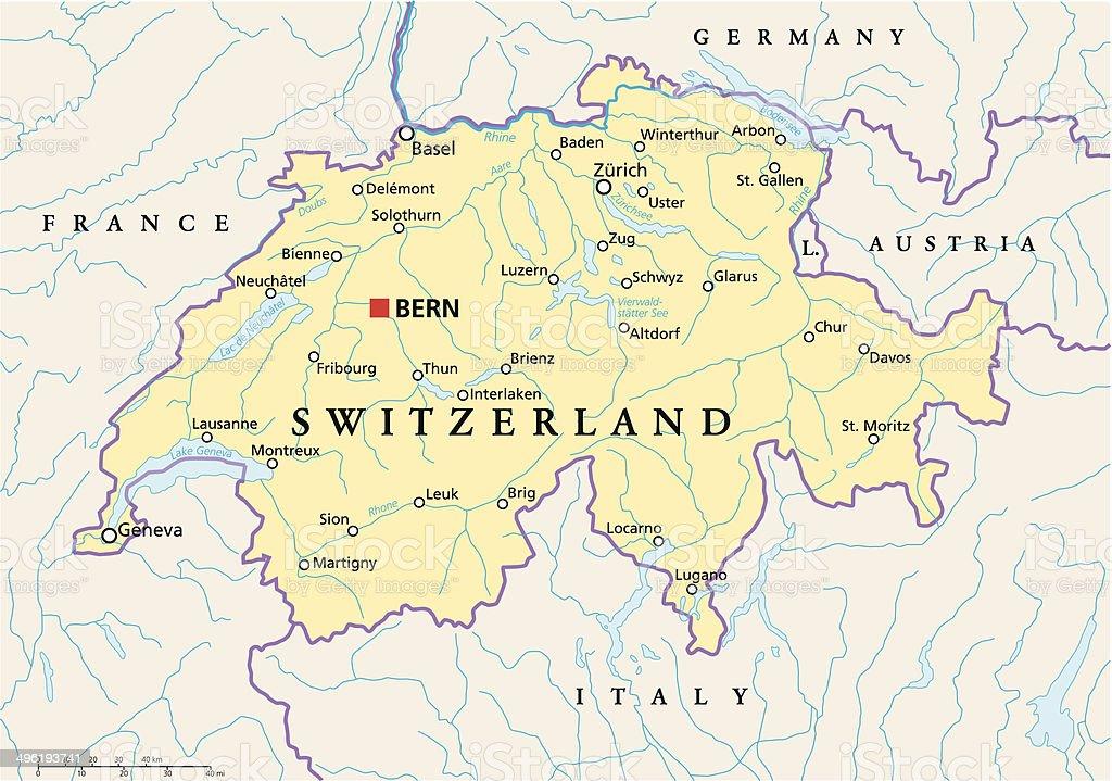 Switzerland Political Map vector art illustration