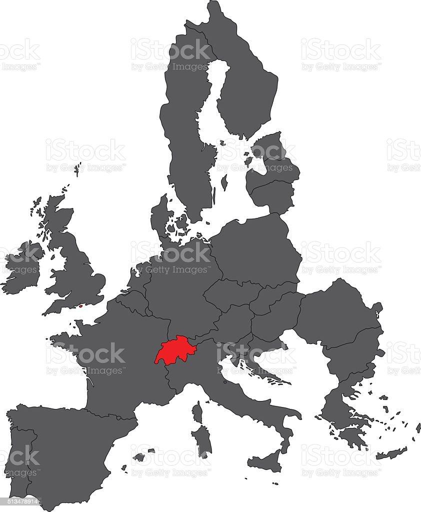 Switzerland red map on gray Europe map vector vector art illustration