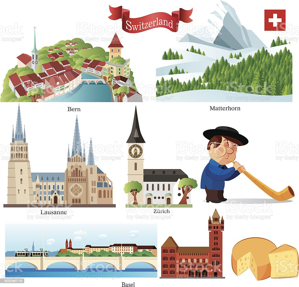Switzerland Symbols vector art illustration