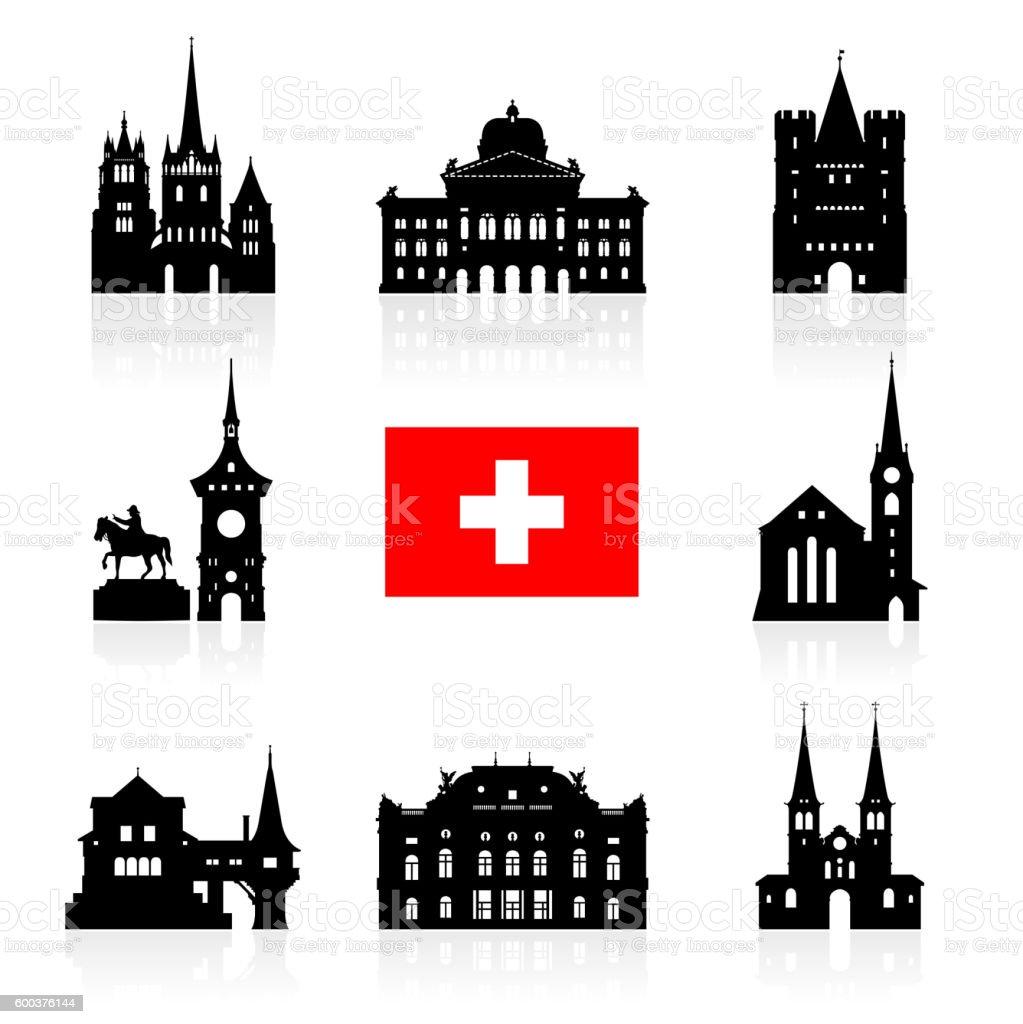 Switzerland Travel Landmarks. vector art illustration