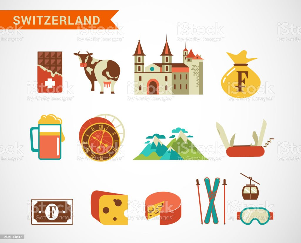 Switzerland -  vector icons set vector art illustration