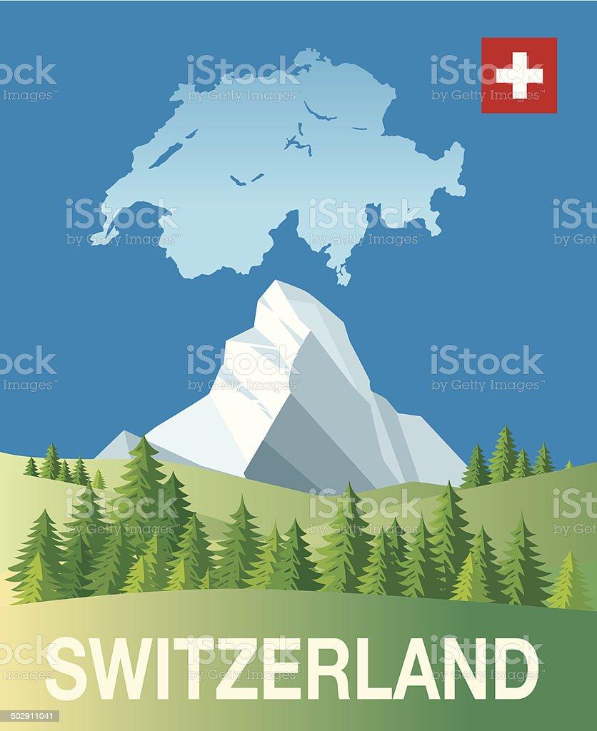 Switzerland vector art illustration