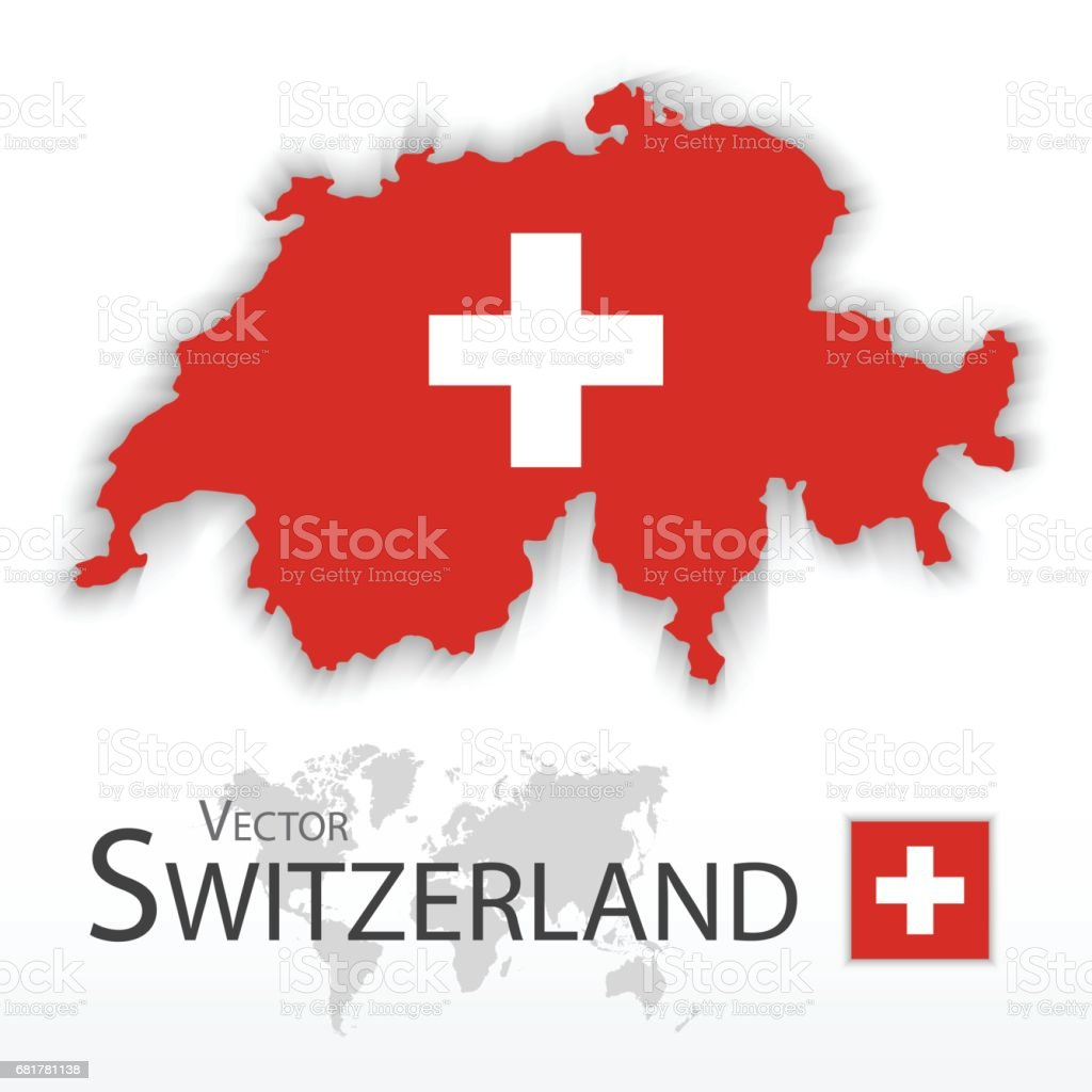 Switzerland ( Swiss Confederation ) ( flag and map ) ( transportation and tourism concept ) vector art illustration