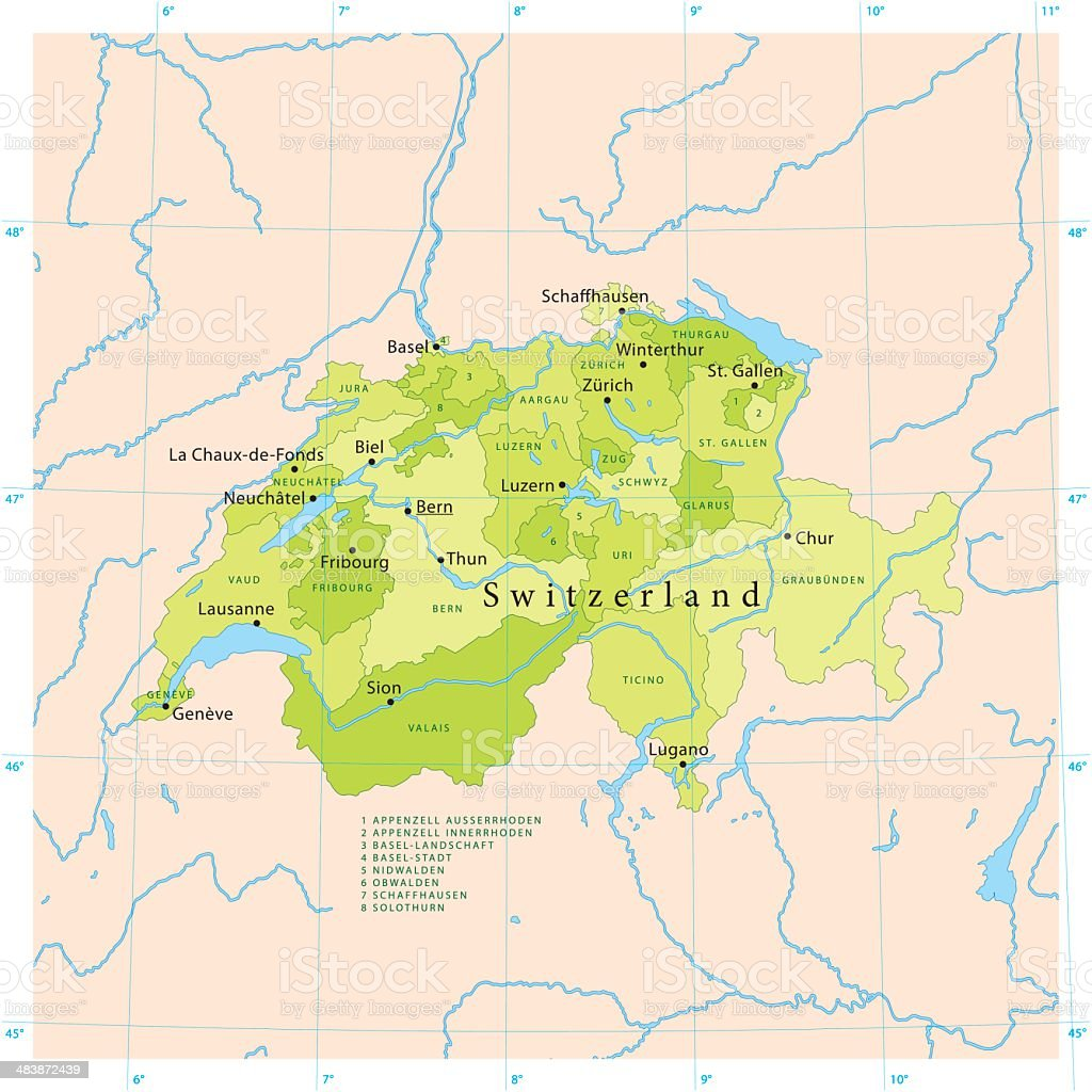 Switzerland Vector Map royalty-free stock vector art