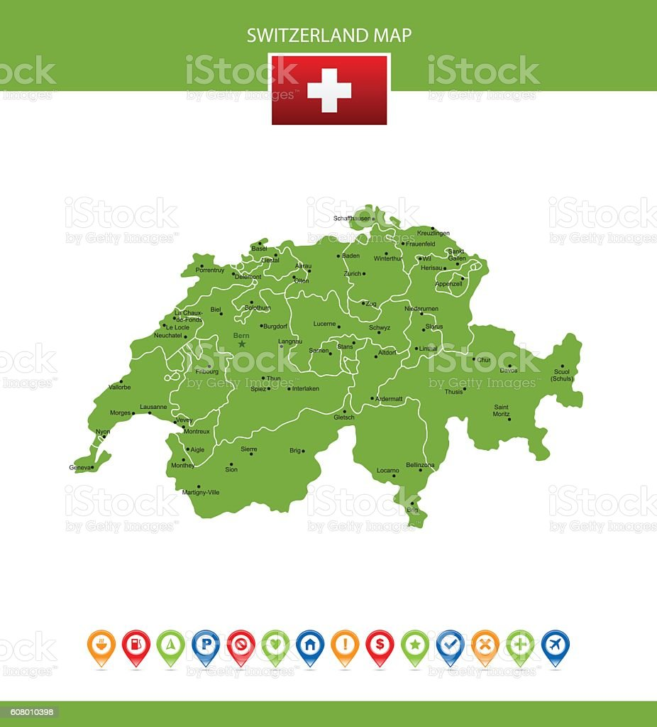Switzerland Vector Map vector art illustration