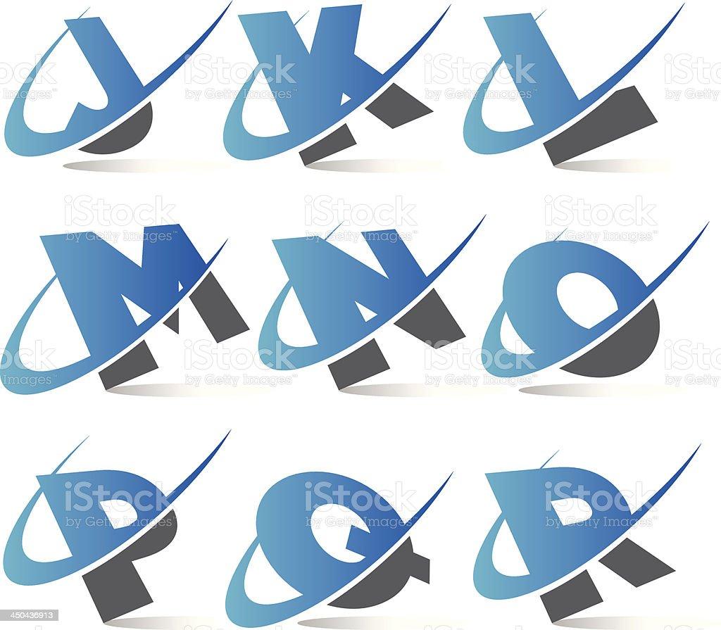 Swoosh Alphabet Icons Set 2 royalty-free stock vector art