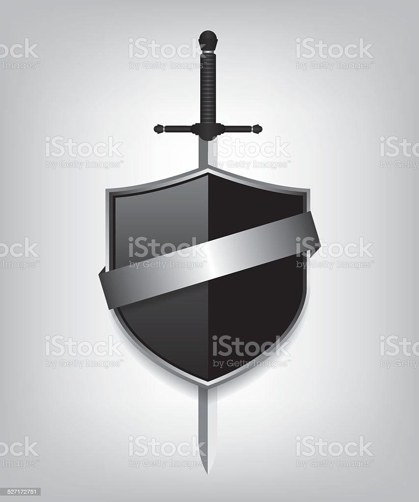 Sword and black shield vector art illustration