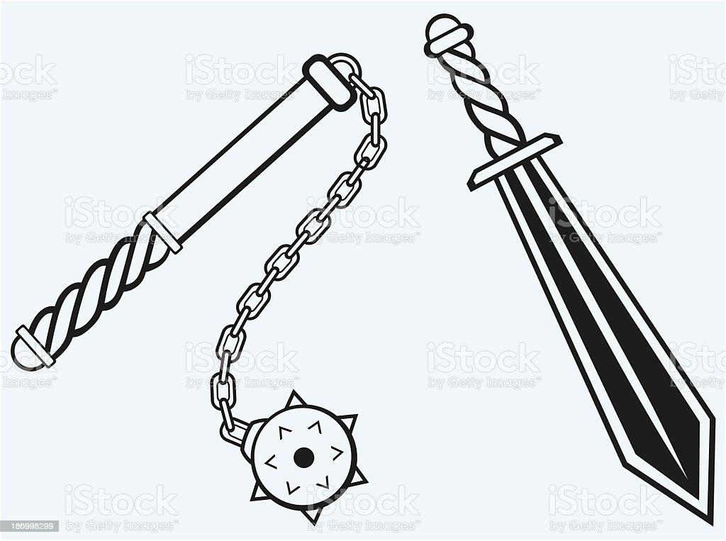 Sword and mace vector art illustration