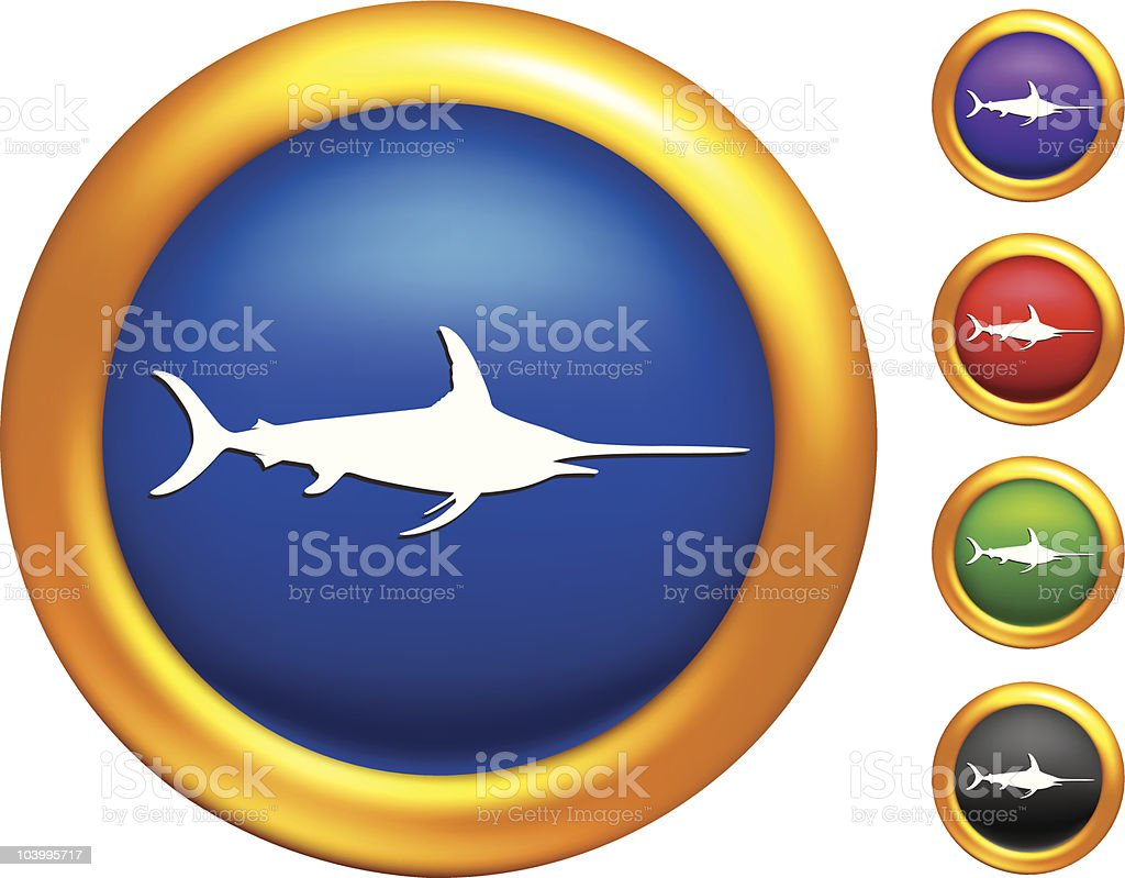 sword fish on golden buttons with Illustrator Mesh borders royalty-free stock vector art