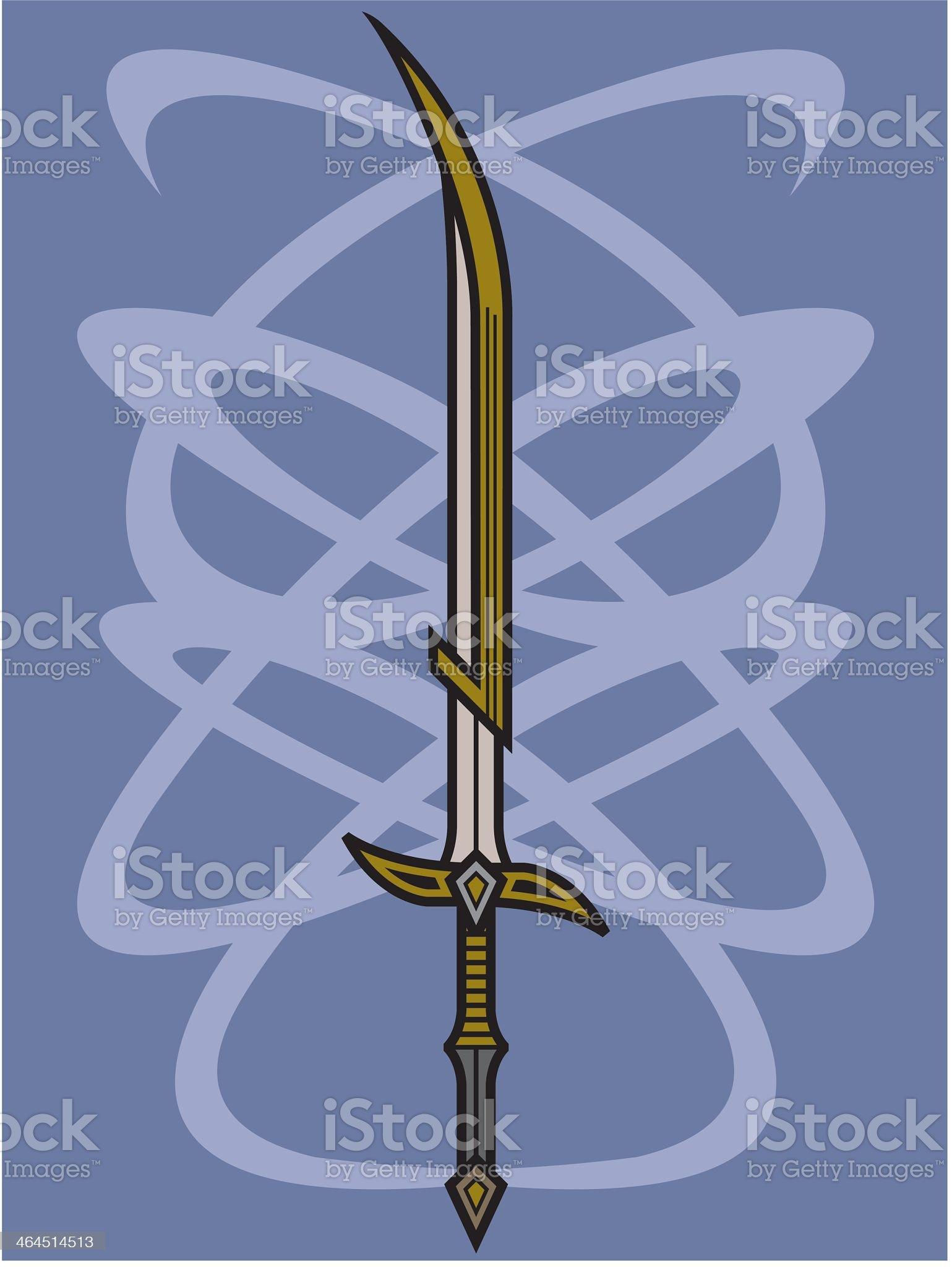 Sword on Celtic Background royalty-free stock vector art