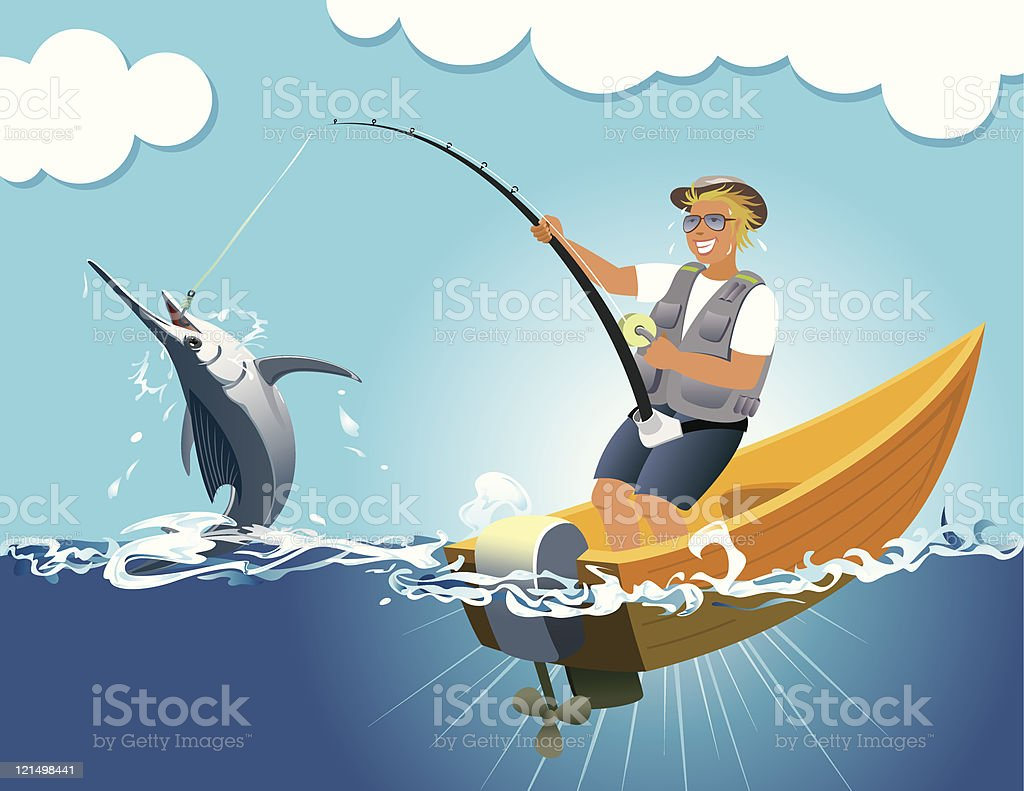 Swordfish gaming vector art illustration