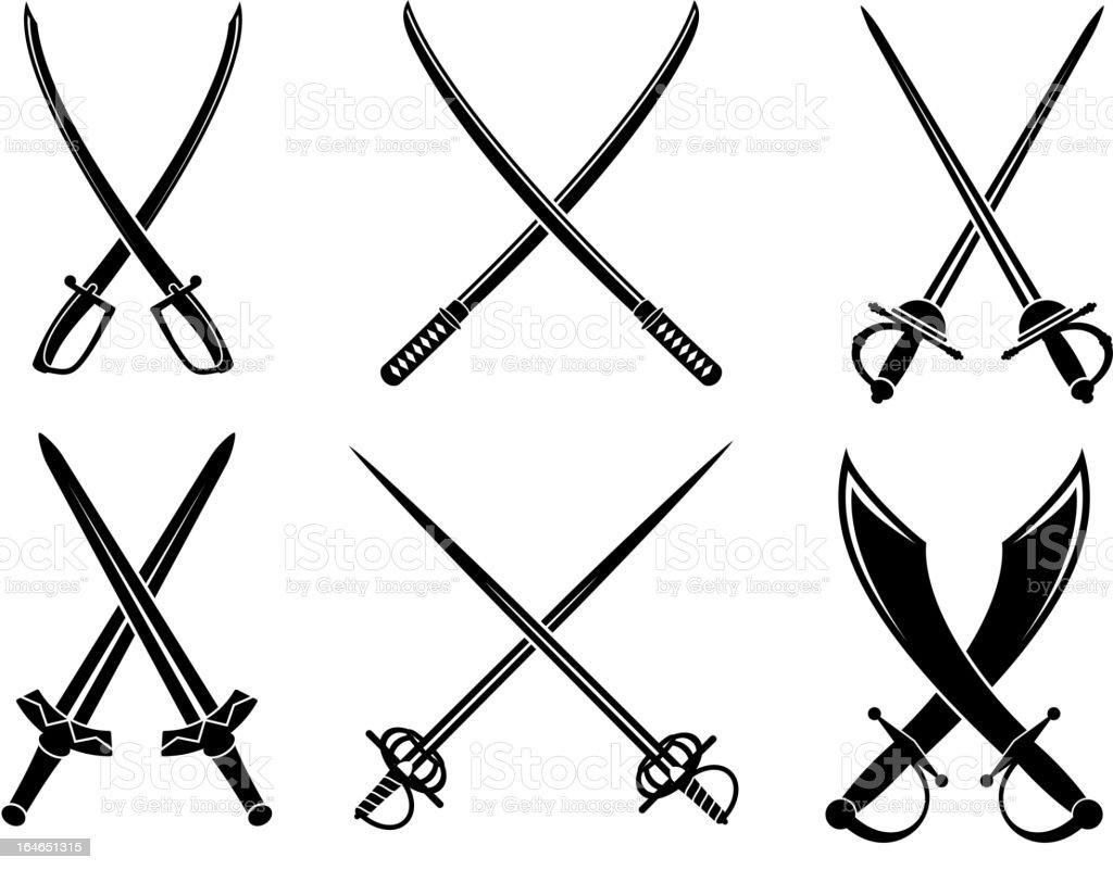 Swords, sabers and longswords set vector art illustration