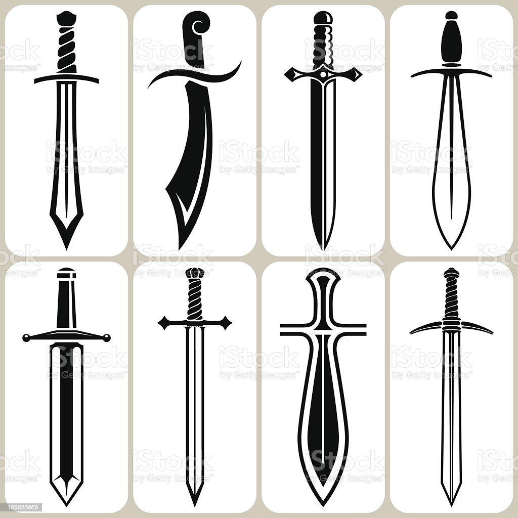 swords set vector art illustration