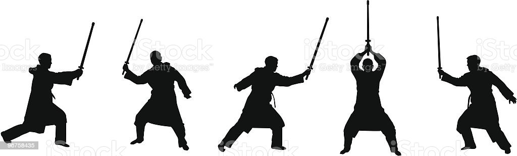 swordsman silhouette kendo like royalty-free stock vector art