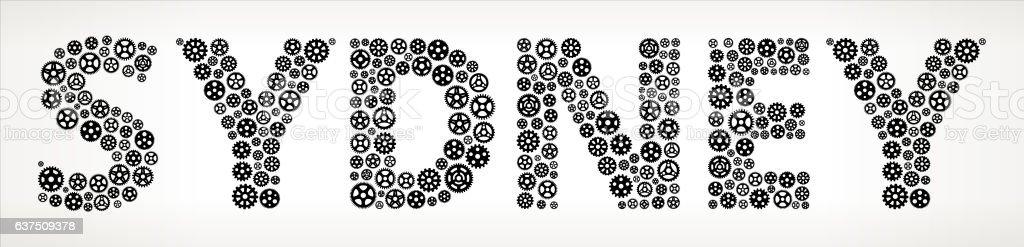 Sydney Black Gears Vector Graphic Illustration vector art illustration