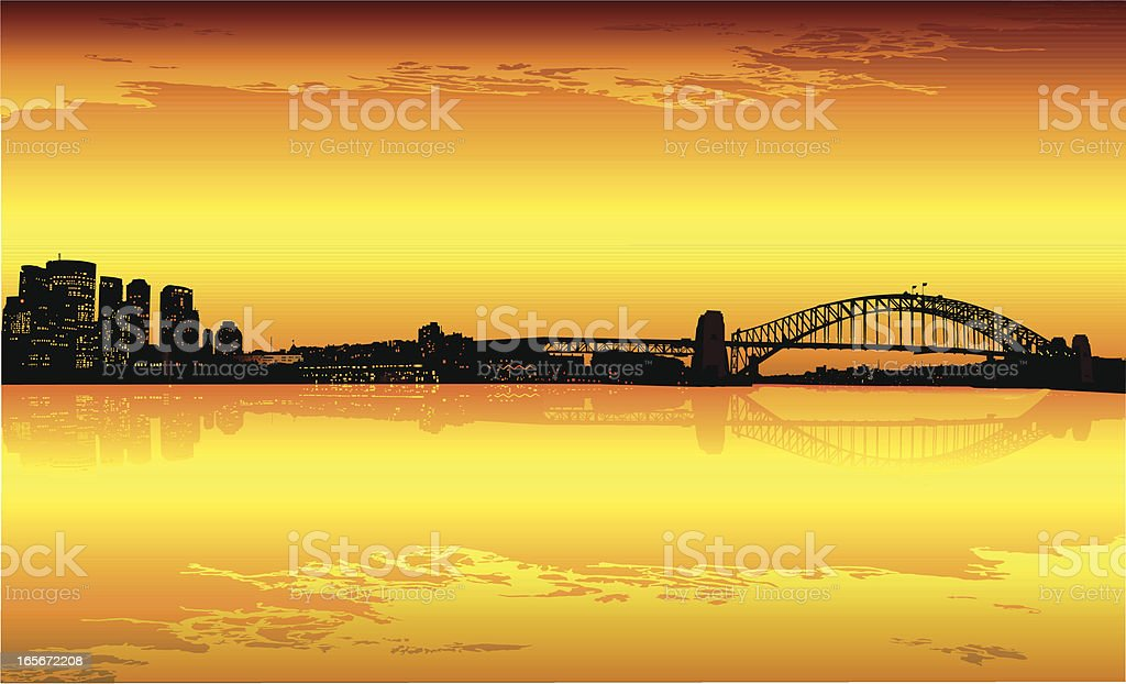 Sydney CBD at dusk vector art illustration