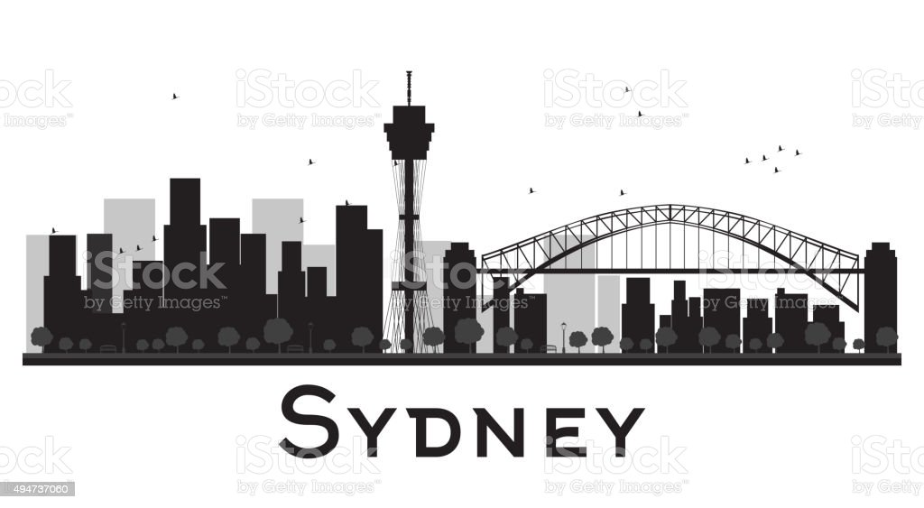 Sydney City skyline black and white silhouette vector art illustration