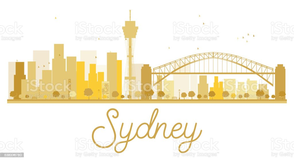 Sydney City skyline golden silhouette. vector art illustration