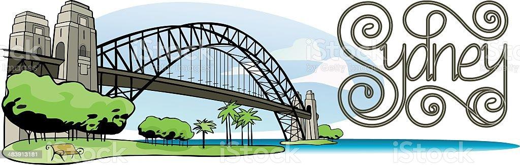 Sydney Harbor bridge with lettering vector art illustration