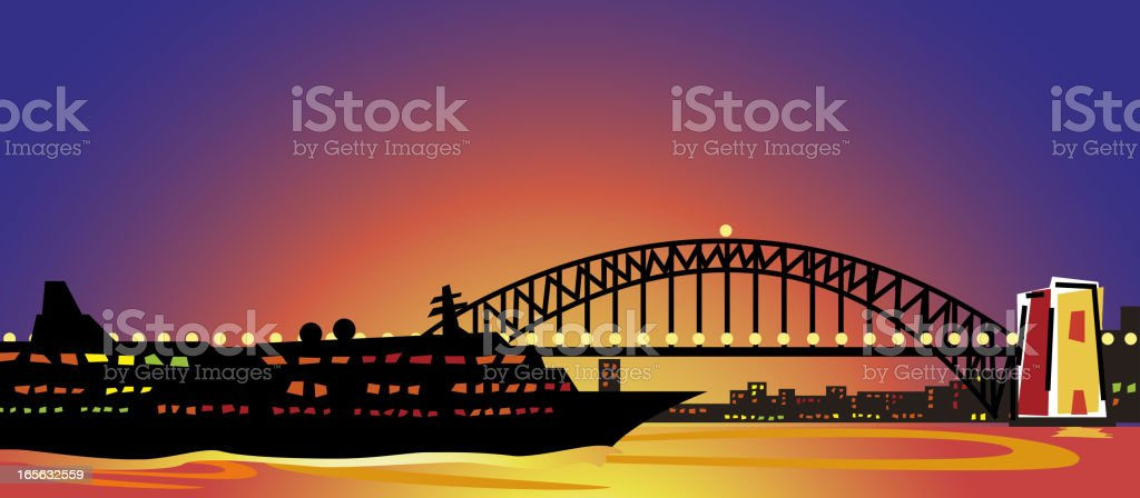 Sydney Harbour Bridge at sunset royalty-free stock vector art
