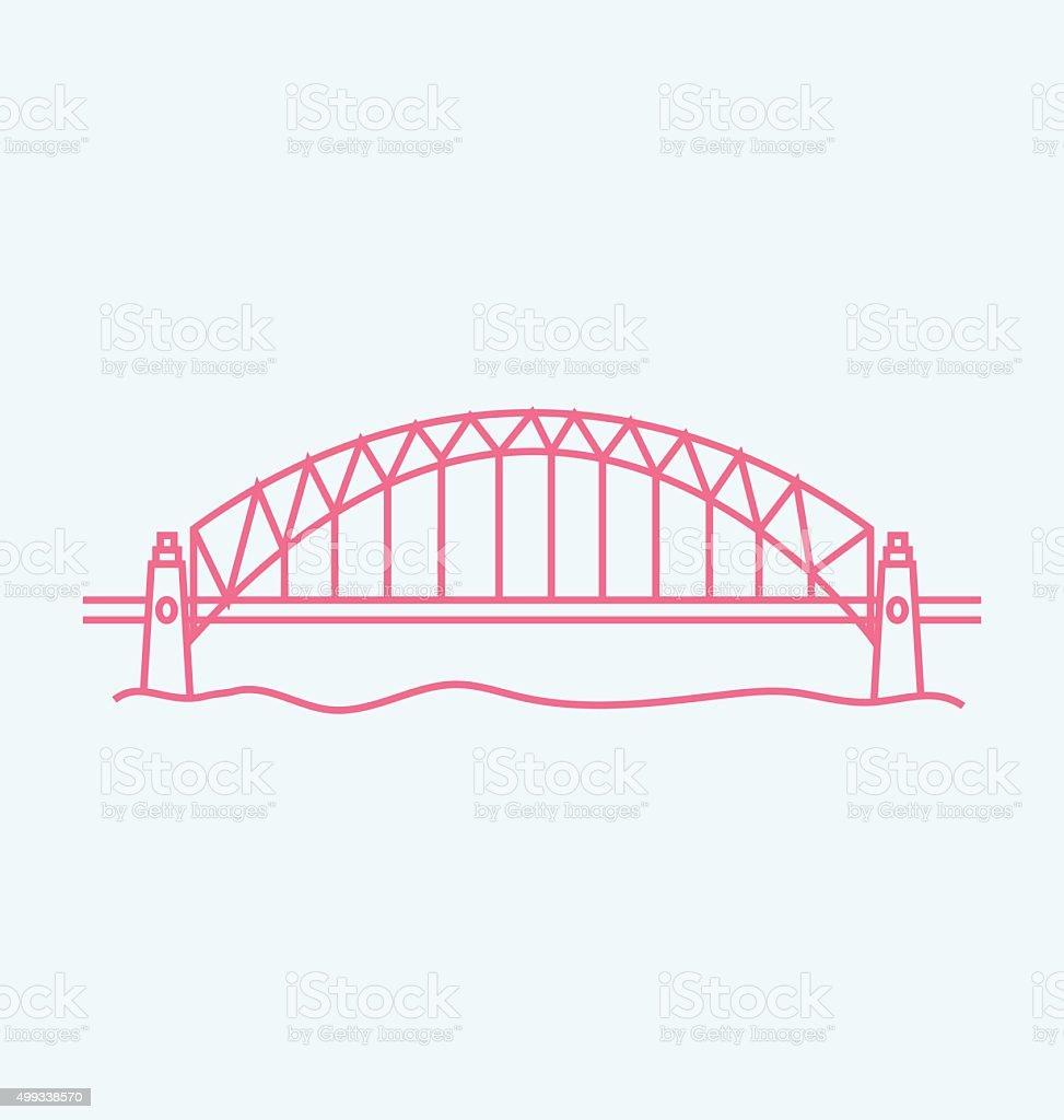 Sydney Harbour Bridge colored line Illustration vector art illustration