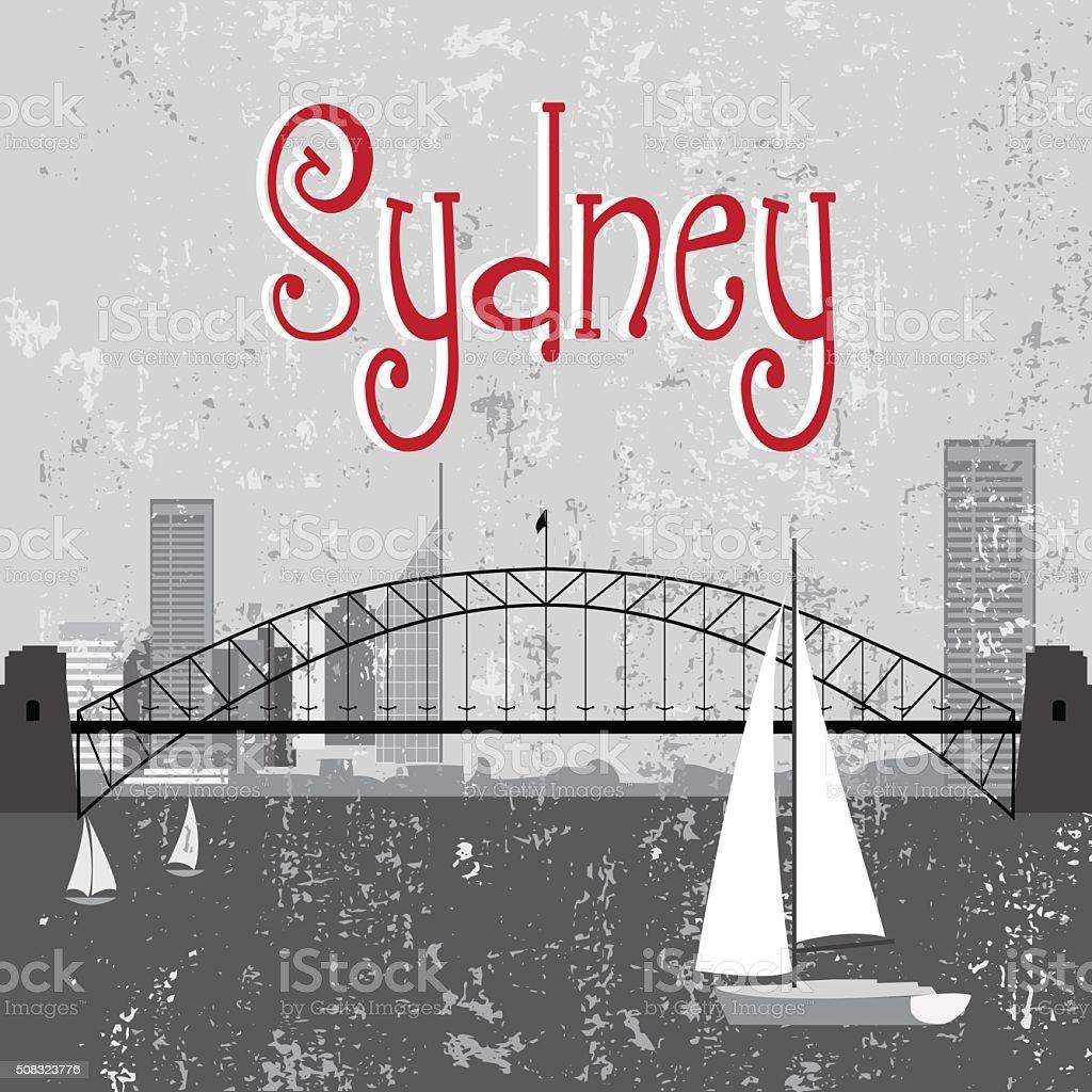 Sydney Harbour Bridge vector art illustration