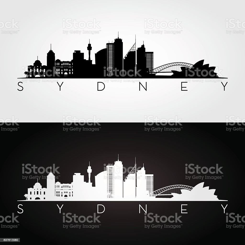 Sydney skyline silhouette. vector art illustration