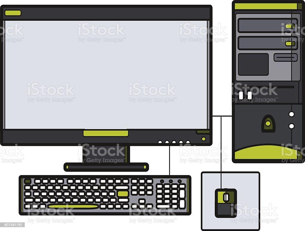 Symbol desktop computer. Icon for web site. Line art vector...