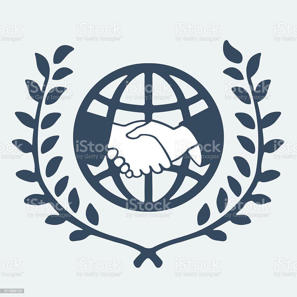 Symbol handshake and the planet vector art illustration