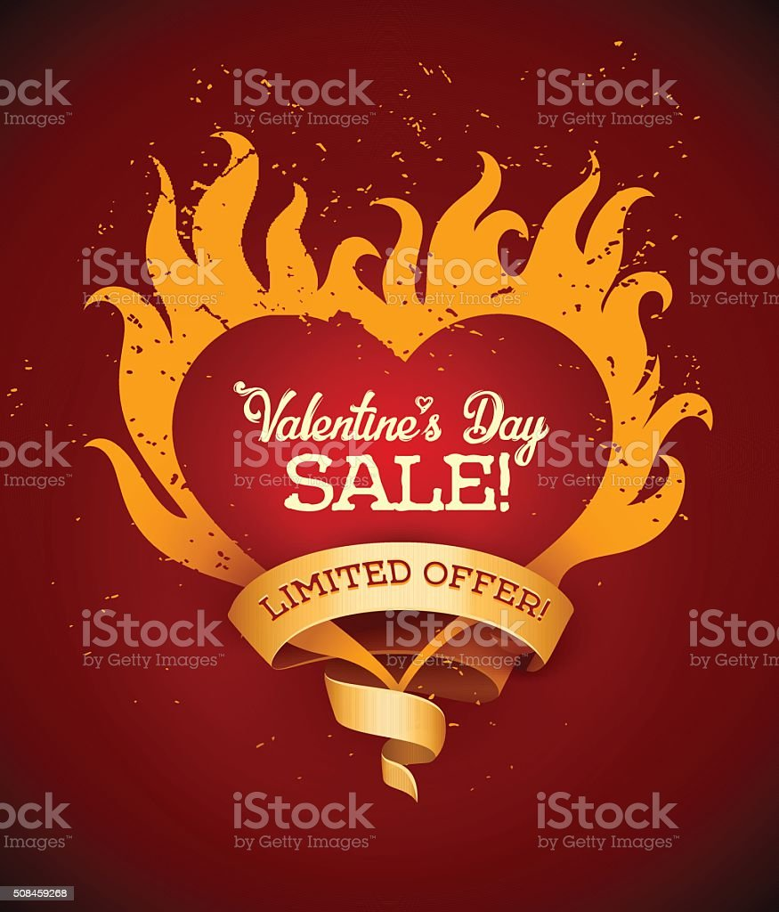 Symbol of burning heart with fire flames and ribbon vector art illustration