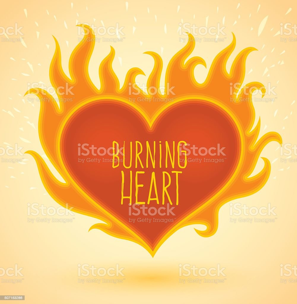 Symbol of burning heart with fire flames vector art illustration