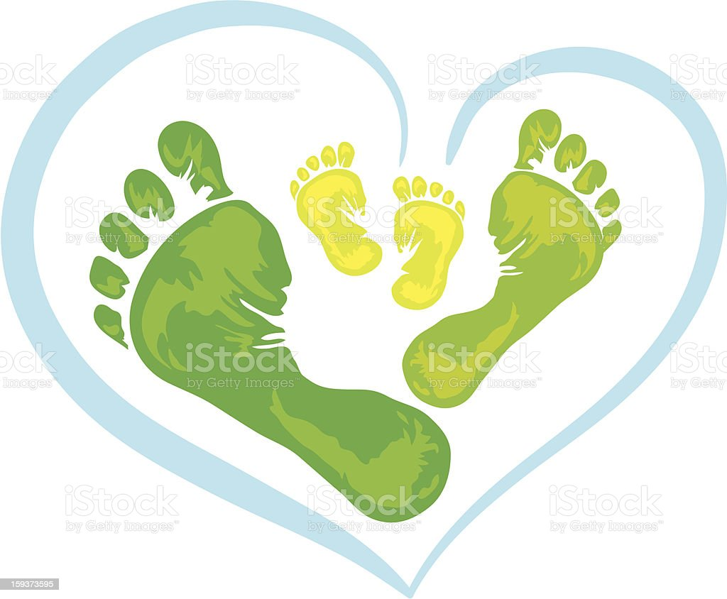 Symbol of family - foot print vector art illustration