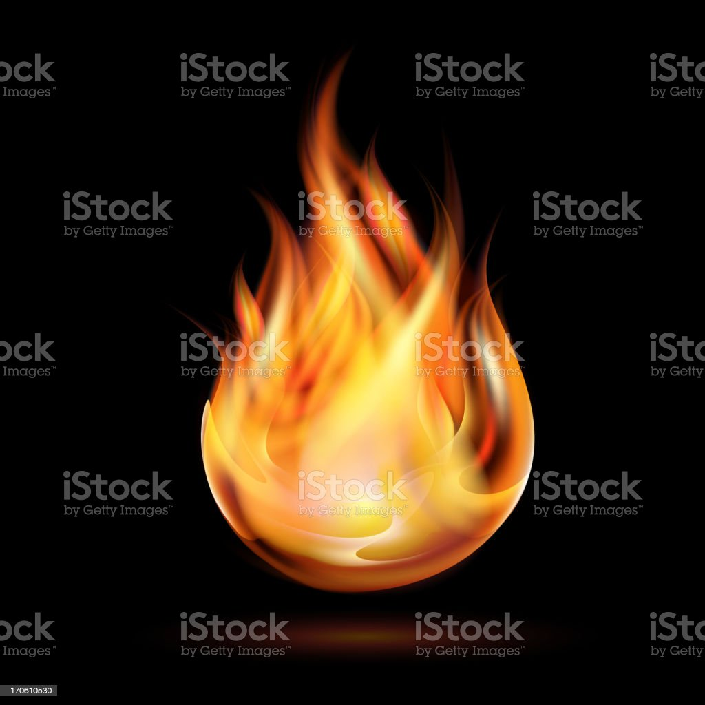 Symbol of fire burning on a black background vector art illustration