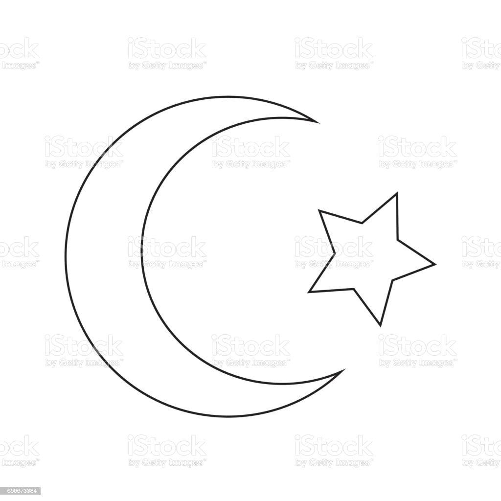 Crescent Moon And Star Symbols Drawing Stock Vector Ay Logo Graphic