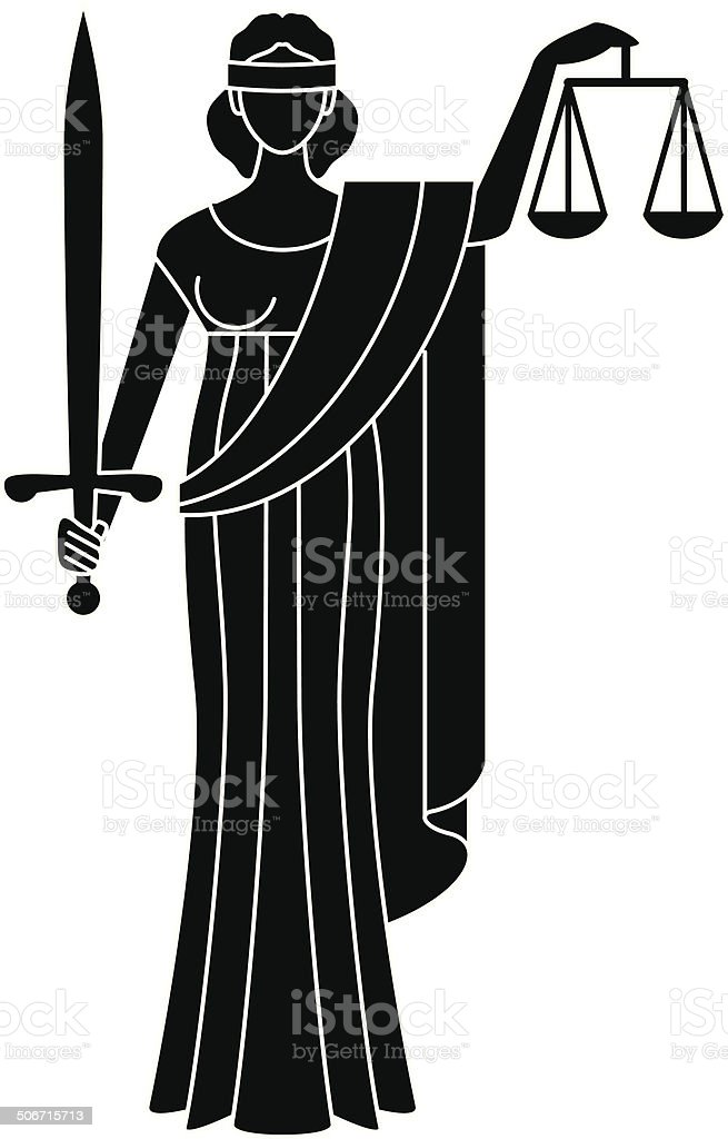 Symbol of justice. Goddess of justice. Themis vector art illustration