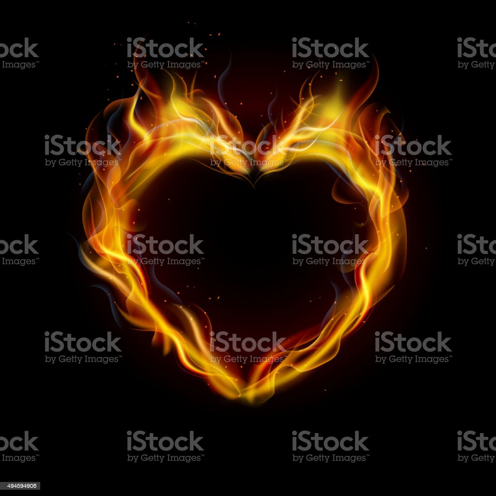 Symbol of love ring of Fire with black background vector art illustration