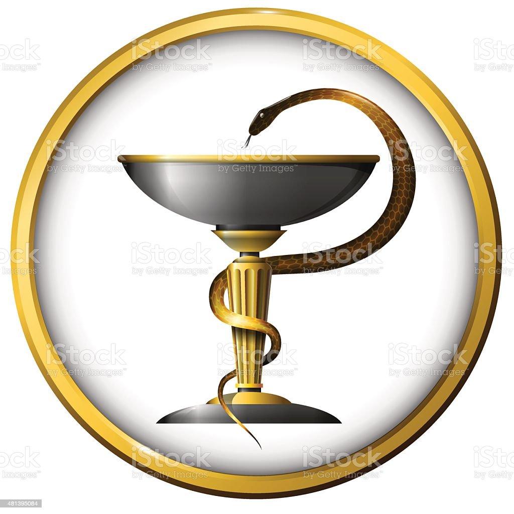 Symbol of medicine snake metal gold and silver vector art illustration