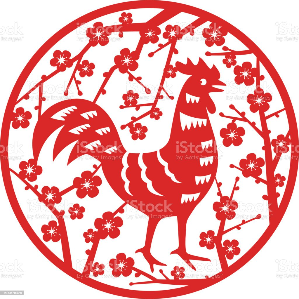symbol of rooster 2017 on the Chinese calendar. vector art illustration